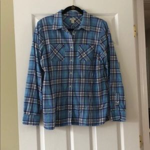 LL Bean plaid button front top